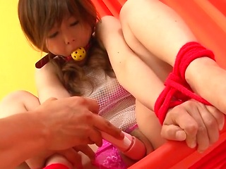 Bondaged Asian cutie Miku Airi gets her pussy...
